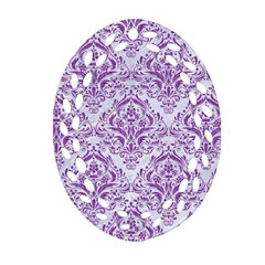 DAMASK1 WHITE MARBLE & PURPLE DENIM (R) Oval Filigree Ornament (Two Sides)