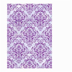 DAMASK1 WHITE MARBLE & PURPLE DENIM (R) Small Garden Flag (Two Sides)