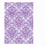 DAMASK1 WHITE MARBLE & PURPLE DENIM (R) Small Garden Flag (Two Sides) Back