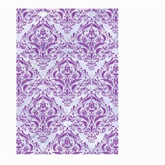 DAMASK1 WHITE MARBLE & PURPLE DENIM (R) Large Garden Flag (Two Sides)