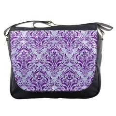 Damask1 White Marble & Purple Denim (r) Messenger Bags by trendistuff