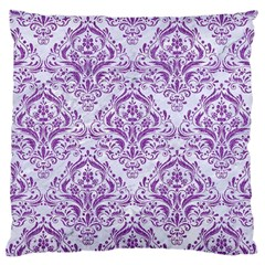Damask1 White Marble & Purple Denim (r) Large Cushion Case (one Side) by trendistuff