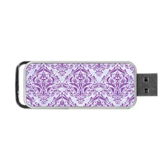 Damask1 White Marble & Purple Denim (r) Portable Usb Flash (two Sides) by trendistuff