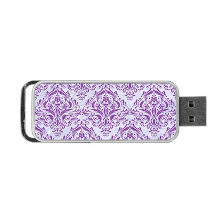 DAMASK1 WHITE MARBLE & PURPLE DENIM (R) Portable USB Flash (Two Sides)