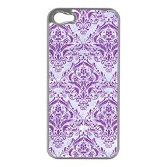 DAMASK1 WHITE MARBLE & PURPLE DENIM (R) Apple iPhone 5 Case (Silver)