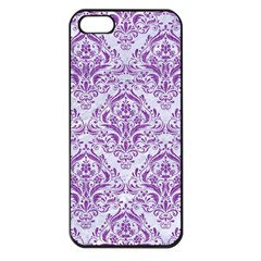 DAMASK1 WHITE MARBLE & PURPLE DENIM (R) Apple iPhone 5 Seamless Case (Black)