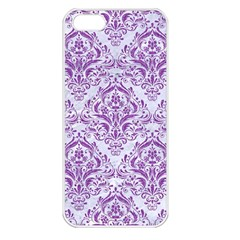 DAMASK1 WHITE MARBLE & PURPLE DENIM (R) Apple iPhone 5 Seamless Case (White)