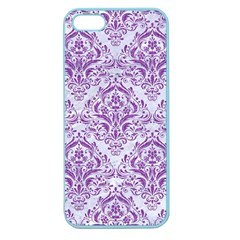 DAMASK1 WHITE MARBLE & PURPLE DENIM (R) Apple Seamless iPhone 5 Case (Color)