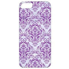 Damask1 White Marble & Purple Denim (r) Apple Iphone 5 Classic Hardshell Case by trendistuff