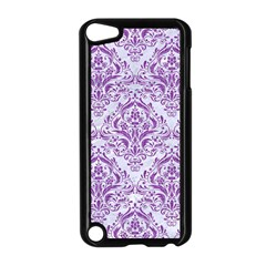 DAMASK1 WHITE MARBLE & PURPLE DENIM (R) Apple iPod Touch 5 Case (Black)