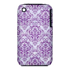 DAMASK1 WHITE MARBLE & PURPLE DENIM (R) iPhone 3S/3GS