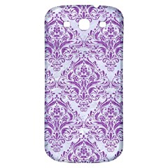 DAMASK1 WHITE MARBLE & PURPLE DENIM (R) Samsung Galaxy S3 S III Classic Hardshell Back Case