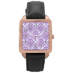 DAMASK1 WHITE MARBLE & PURPLE DENIM (R) Rose Gold Leather Watch