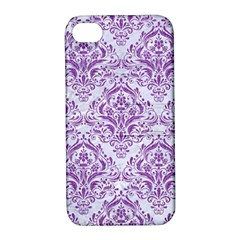 DAMASK1 WHITE MARBLE & PURPLE DENIM (R) Apple iPhone 4/4S Hardshell Case with Stand