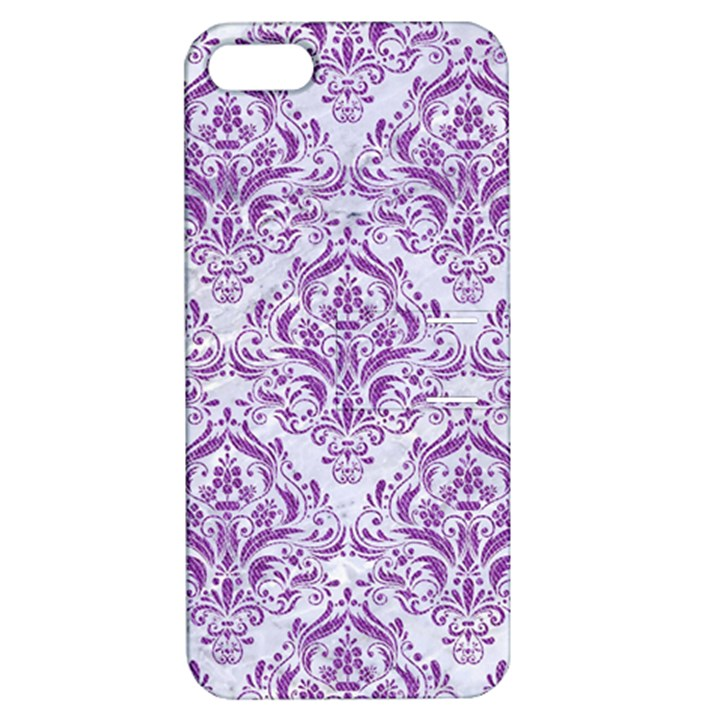 DAMASK1 WHITE MARBLE & PURPLE DENIM (R) Apple iPhone 5 Hardshell Case with Stand