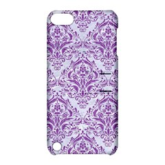 DAMASK1 WHITE MARBLE & PURPLE DENIM (R) Apple iPod Touch 5 Hardshell Case with Stand