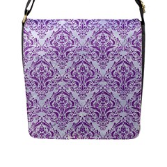 Damask1 White Marble & Purple Denim (r) Flap Messenger Bag (l)  by trendistuff