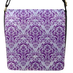 Damask1 White Marble & Purple Denim (r) Flap Messenger Bag (s) by trendistuff