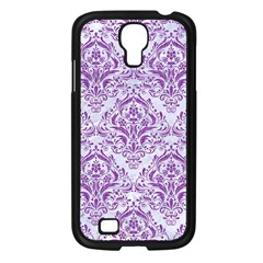 Damask1 White Marble & Purple Denim (r) Samsung Galaxy S4 I9500/ I9505 Case (black) by trendistuff