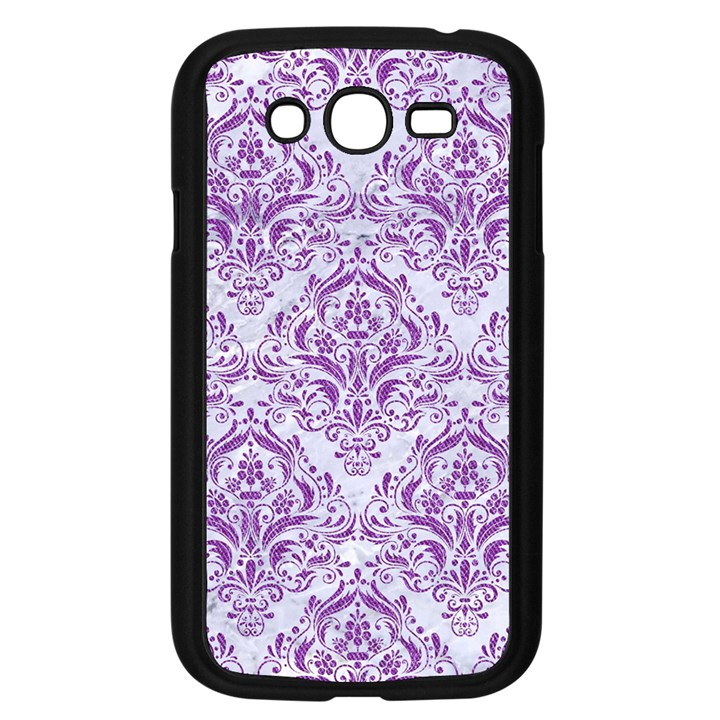 DAMASK1 WHITE MARBLE & PURPLE DENIM (R) Samsung Galaxy Grand DUOS I9082 Case (Black)