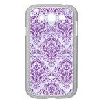 DAMASK1 WHITE MARBLE & PURPLE DENIM (R) Samsung Galaxy Grand DUOS I9082 Case (White) Front