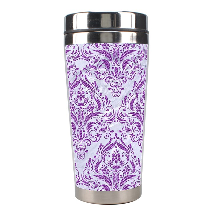 DAMASK1 WHITE MARBLE & PURPLE DENIM (R) Stainless Steel Travel Tumblers