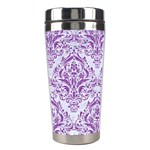 DAMASK1 WHITE MARBLE & PURPLE DENIM (R) Stainless Steel Travel Tumblers Center