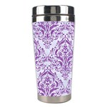 DAMASK1 WHITE MARBLE & PURPLE DENIM (R) Stainless Steel Travel Tumblers Right