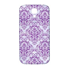 Damask1 White Marble & Purple Denim (r) Samsung Galaxy S4 I9500/i9505  Hardshell Back Case by trendistuff