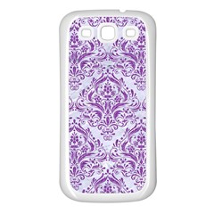 Damask1 White Marble & Purple Denim (r) Samsung Galaxy S3 Back Case (white) by trendistuff