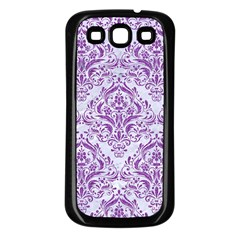 Damask1 White Marble & Purple Denim (r) Samsung Galaxy S3 Back Case (black) by trendistuff