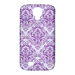DAMASK1 WHITE MARBLE & PURPLE DENIM (R) Samsung Galaxy S4 Classic Hardshell Case (PC+Silicone)
