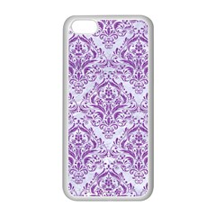 DAMASK1 WHITE MARBLE & PURPLE DENIM (R) Apple iPhone 5C Seamless Case (White)