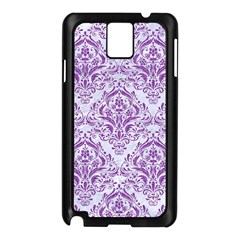 Damask1 White Marble & Purple Denim (r) Samsung Galaxy Note 3 N9005 Case (black) by trendistuff