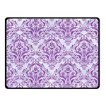 DAMASK1 WHITE MARBLE & PURPLE DENIM (R) Double Sided Fleece Blanket (Small)  45 x34 Blanket Front