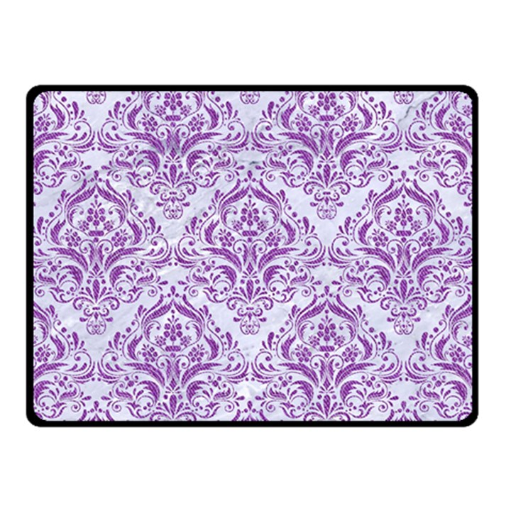 DAMASK1 WHITE MARBLE & PURPLE DENIM (R) Double Sided Fleece Blanket (Small)
