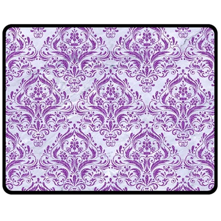 DAMASK1 WHITE MARBLE & PURPLE DENIM (R) Double Sided Fleece Blanket (Medium)