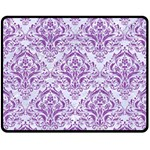 DAMASK1 WHITE MARBLE & PURPLE DENIM (R) Double Sided Fleece Blanket (Medium)  58.8 x47.4 Blanket Back