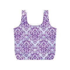 Damask1 White Marble & Purple Denim (r) Full Print Recycle Bags (s)  by trendistuff