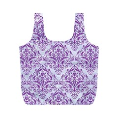 Damask1 White Marble & Purple Denim (r) Full Print Recycle Bags (m)  by trendistuff