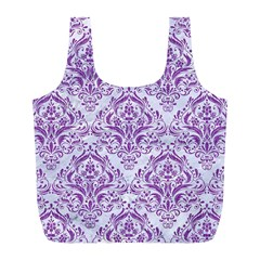 Damask1 White Marble & Purple Denim (r) Full Print Recycle Bags (l)  by trendistuff