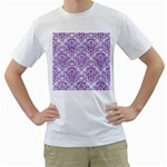 DAMASK1 WHITE MARBLE & PURPLE DENIM (R) Men s T-Shirt (White)  Front