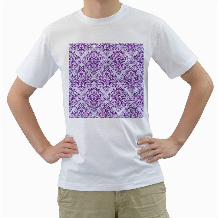 DAMASK1 WHITE MARBLE & PURPLE DENIM (R) Men s T-Shirt (White)