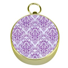 DAMASK1 WHITE MARBLE & PURPLE DENIM (R) Gold Compasses