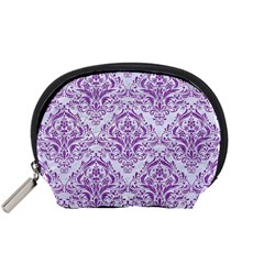 DAMASK1 WHITE MARBLE & PURPLE DENIM (R) Accessory Pouches (Small)