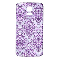 Damask1 White Marble & Purple Denim (r) Samsung Galaxy S5 Back Case (white)