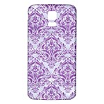 DAMASK1 WHITE MARBLE & PURPLE DENIM (R) Samsung Galaxy S5 Back Case (White) Front