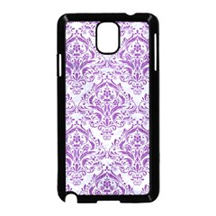 Damask1 White Marble & Purple Denim (r) Samsung Galaxy Note 3 Neo Hardshell Case (black) by trendistuff