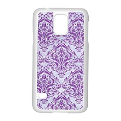 Damask1 White Marble & Purple Denim (r) Samsung Galaxy S5 Case (white) by trendistuff