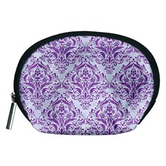 Damask1 White Marble & Purple Denim (r) Accessory Pouches (medium)  by trendistuff